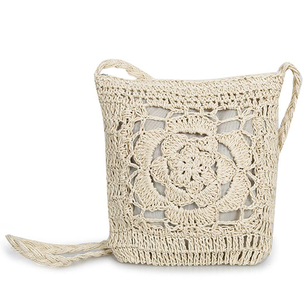 Olyphy straw Square shoulder purse for Women Retro Woven Crossbody Bag crochet Envelope Messenger Satchel for Summer Beach (darkwhite)