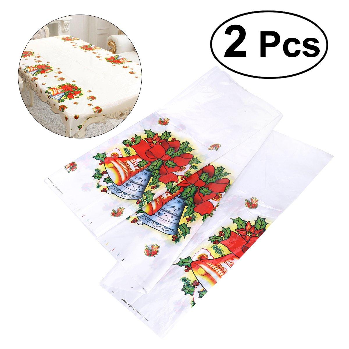 Tinksky Weihnachtstisch-Tuch-Tabellen-Abdeckung 2PCS Weihnachten wegwerfbare PVC-Tischdecke Tabellen-Lä ufer-Weihnachtsklingel-Bell-Muster-HauptPartei-Dekoration 110x180cm