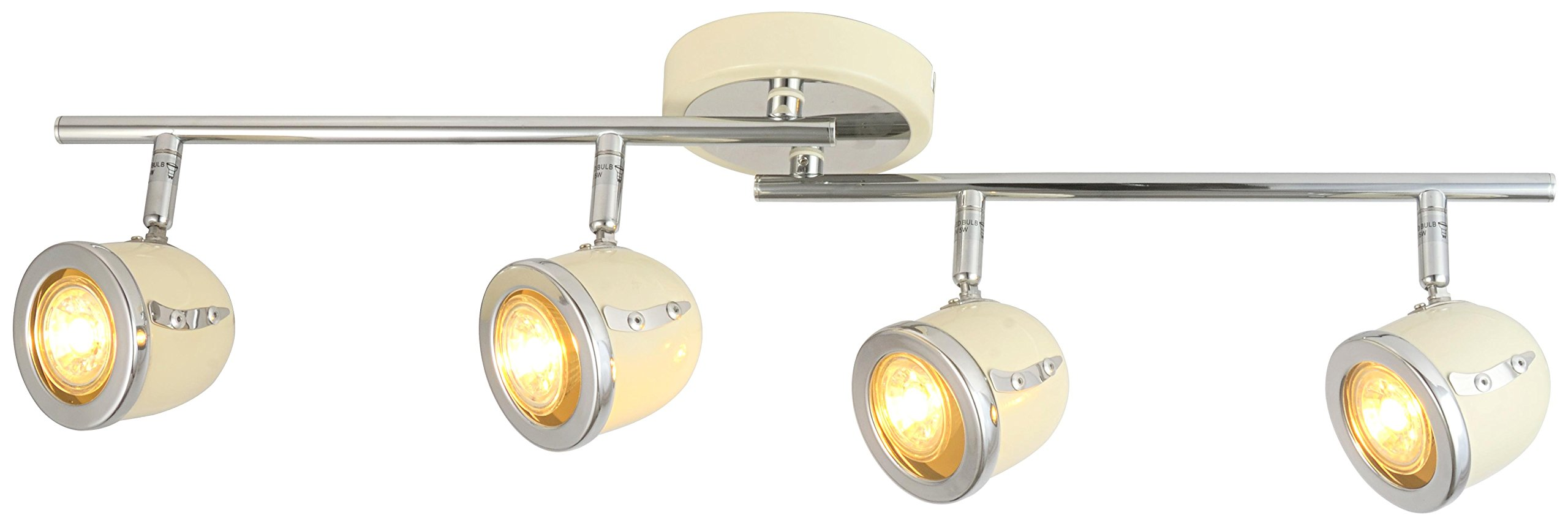 LED Retro Adjustable Eyeball Black &Chrome Ceiling Spotlight (Beige & Chrome, 4 Lights)
