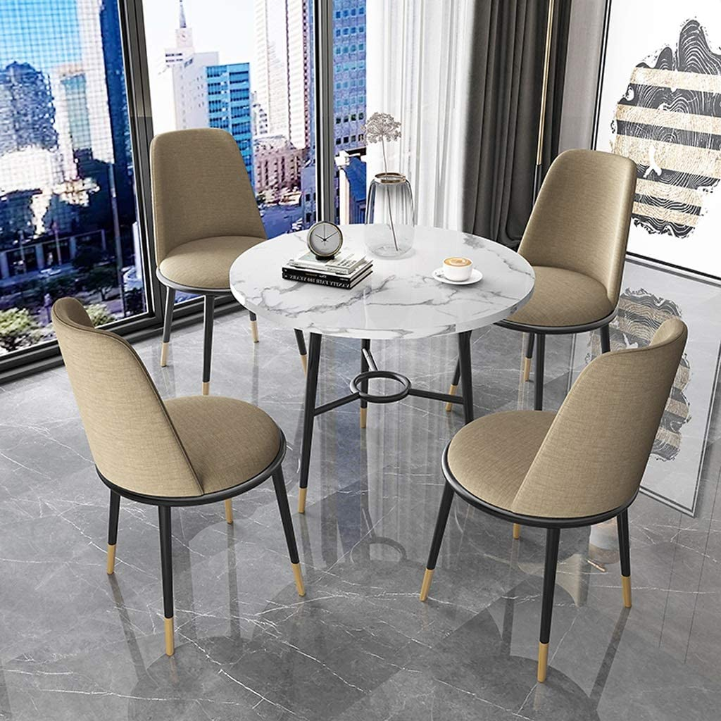 Kitchen Dining Chairs Small Round Table Fabric Chair Combination Milk Tea Shop Meeting Negotiation Western Restaurant