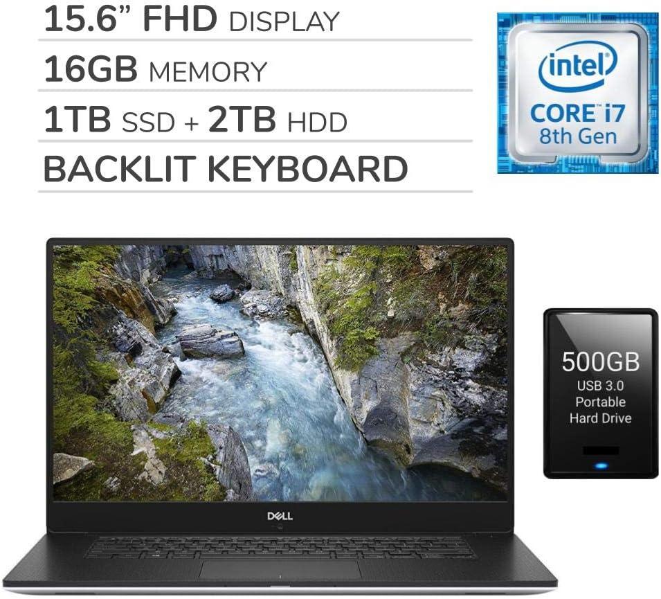 Dell Precision 5530 2020 15.6 FHD IGZO4 Laptop, 6-Core Intel i7-8850H 2.60 GHz, 16GB RAM, 1TB SSD, 2TB HDD,Nvidia Quadro P1000,Backlit Keyboard,Webcam,Win 10 Pro,500GB USB 3.0 External HDD
