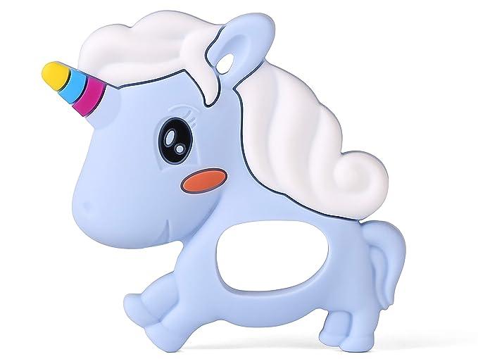PREMYO Mordedor Bebé Silicona - Anillo de Dentición Aro de Agarrar - Alivia Dolor Libre de BPA Unicornio Azul