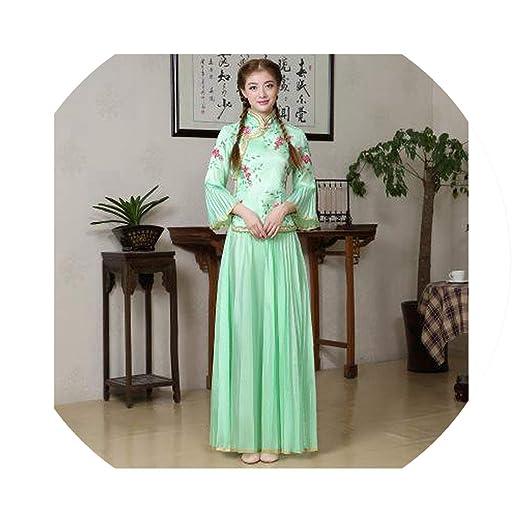 dd5866cb7f2 Amazon.com  Women Flower Qipao Chinese Traditional Mandarin Collar Cheongsam  Sexy Wedding Bridesmaid Dress  Clothing