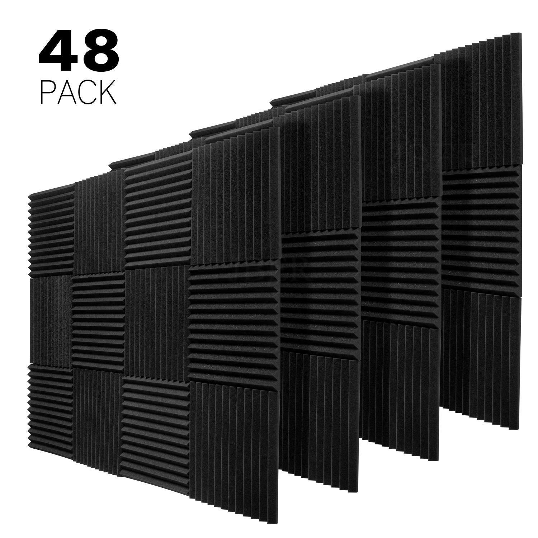JBER 48 Pack Charcoal Acoustic Panels Studio Foam Wedges Fireproof Soundproof Padding Wall Panels 1'' X 12'' X 12''