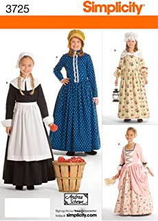 Simplicity Sewing Pattern 3725 Child and Girl Costumes K5 (7-8-10  sc 1 st  Amazon.com : girls colonial costumes  - Germanpascual.Com