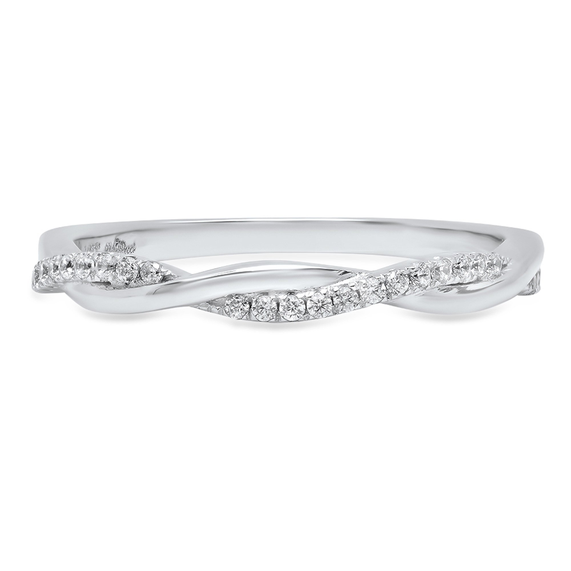 Clara Pucci 0.22ct Brilliant Round Cut Solitaire Stackable Bridal Wedding Promise Anniversary Band 14k Solid White Gold, 5.5