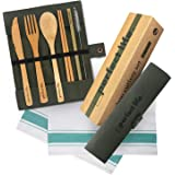 Natural Bamboo Utensils Cutlery Set with Table Cloth Towel 19 x 13 Inc, Reusable Cutlery Travel Set, Wooden Silverware…