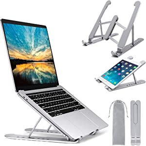 "Laptop Stand, Senose Laptop Holder Portable Computer Stand Desktop Holder Mount Foldable Riser with 7 Levels Adjustable Aluminum Alloy Compatible with MacBook Air Pro,HP,Lenovo More 10-15.6"" Laptops"