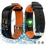 Wasserdicht Sportuhr mit Smartwatch 0.96 Zoll Groß Farbig OLED Bildschirm Tracking Fitnessarmband Uhr mit Herzrfrequenzmessung und Blutdruckmesser, Schrittzähler Kalorienverbrauch Schlafüberwachung und Weckfunktion, Anruf / SMS Benachrichtigung Smartwatches von Stoppuhr und Wecker