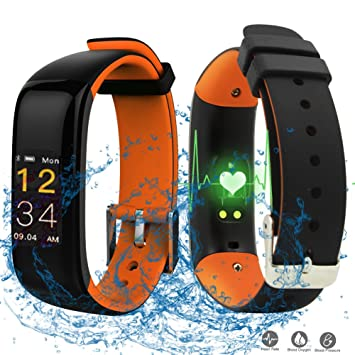 Pulso Reloj con Tensiómetro, roguci Multicolor OLED 0.96 pulgadas podómetro pulsera de actividad Tracker –