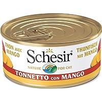 Schesir, Comida húmeda para Gatos Adultos, Sabor bacoreta con Mango en gelatina Blanda con Verdaderos trozos de Fruta…