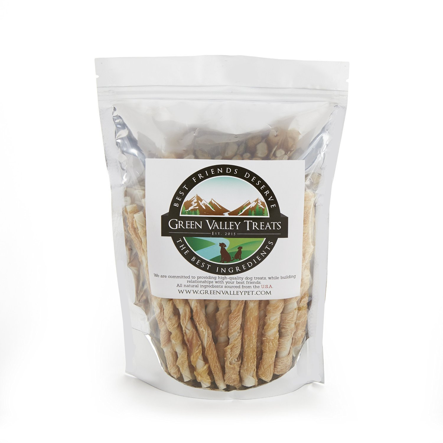 Green Valley Treats Rawhide Chews with Real Chicken, Made in The USA Only, Natural Gluten Free Dog Treats for Small Dogs, Perfect Dog Training Treats