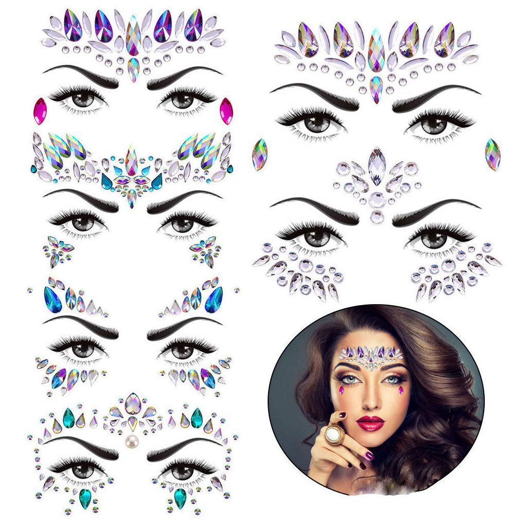 70d5fa6a3de Kotbs 6 Sets Women Mermaid Face Gems Glitter Rhinestone Rave Festival Face  Jewels Crystals Face Stickers Eyes Face Body Temporary Tattoos