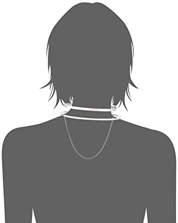 Rhodium Cut Out Collar with Chain Choker Necklace
