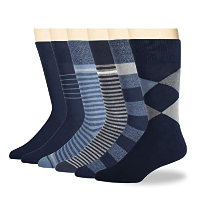 +MD Mens Bamboo Dress Socks, Moisture Wicking Solid & Patterned Business Crew Socks, 6 Pack Navy 10-13 at Men's Clothing store