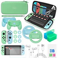 Switch Accessories Bundle for Animal Crossing - 26 in 1 Accessories Kit with Carrying Case,Screen Protector,Silicone…