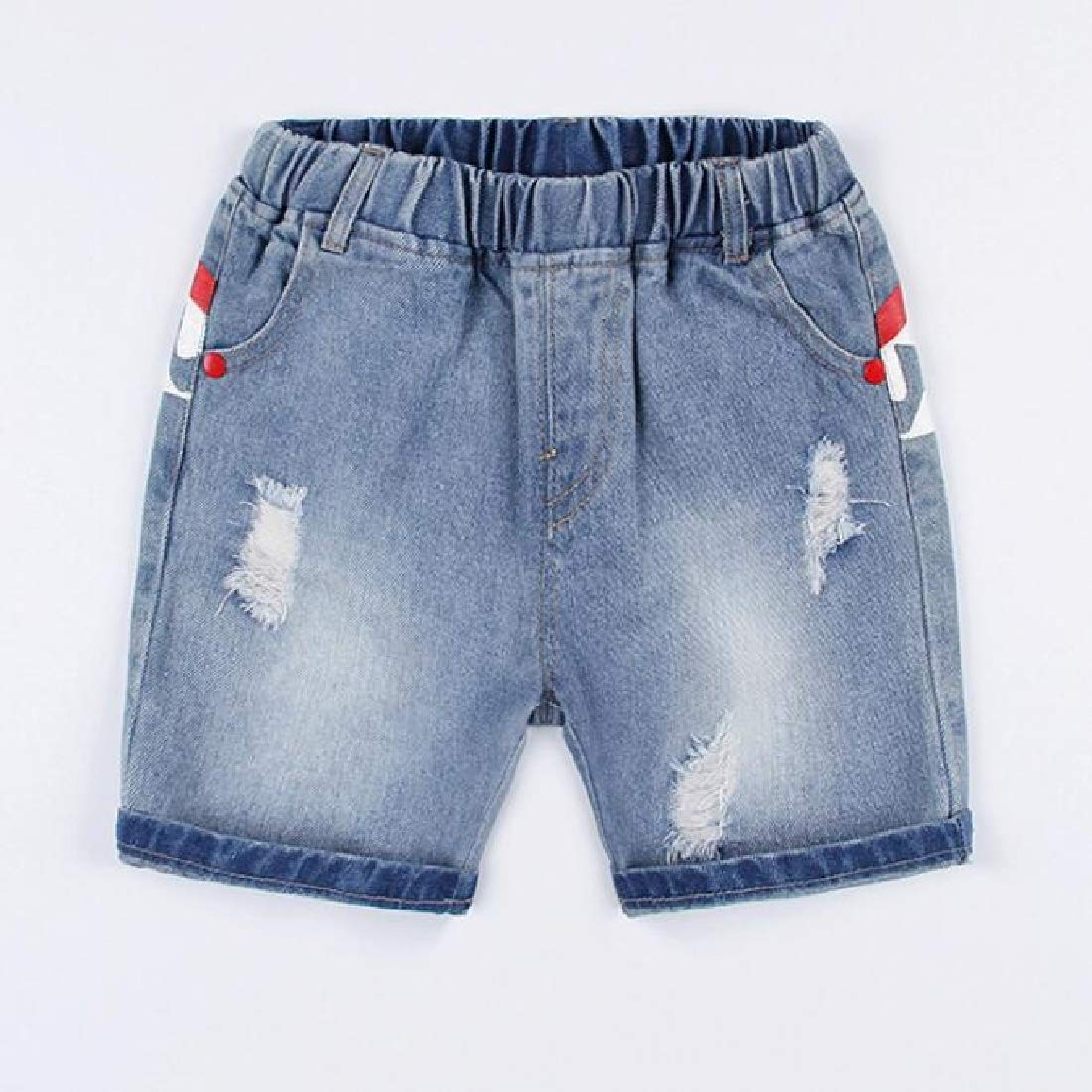 Pandapang Boys Distressed Jean Denim Printed Vogue Elastic-Waist Shorts