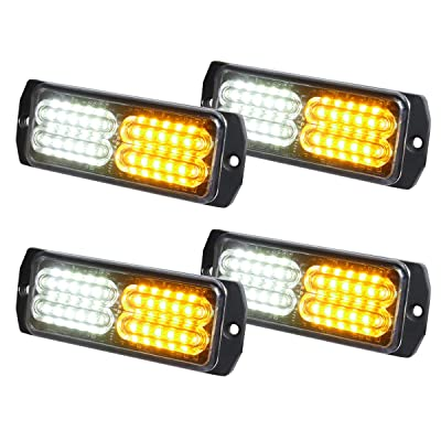 ASPL 4pcs Sync Feature 24-LED Surface Mount Flashing Strobe Lights for Truck Car Vehicle LED Mini Grille Light Head Emergency Beacon Hazard Warning lights (Amber/White): Automotive