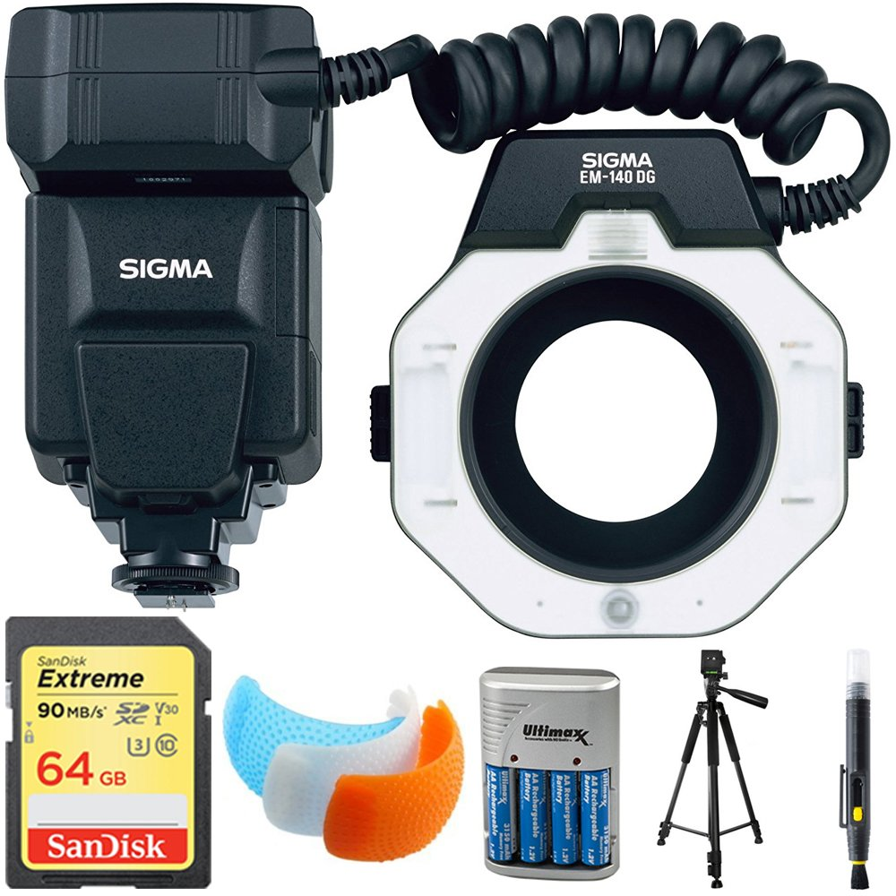Sigma EM-140 DG Macro Flash for Canon EOS DSLRs (309101) with 64GB Memory Card, DSLR Camera Flash Diffuser Soft Flash Cover, Travel Charger, 60'' Full Size Photo / Video Tripod & LCD/Lens Cleaning Pen by Sigma
