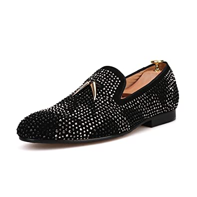 HI HANN Men s Suede Men Shoe with Gold Tassel and Exquisite Crystal Shoes  Slip-on Loafer d418a2b6807f