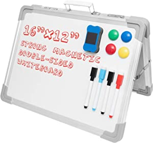 """COYMOS Small Dry Erase White Board 16""""X12"""" Portable White Board Easel Magnetic Desktop Whiteboard for Kids, Home, Office, Foldable Double Sided with 4 Pens, 4 Magnets, 1 Dry Eraser"""