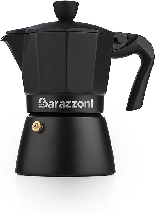 Barazzoni la Cafetera Deluxe, 3 Tazas, Aluminio, Negro, 8.6 x 14.5 ...