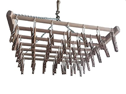 Amazoncom Hanging Laundry Drying Rack 49 Clothes Pins Home Kitchen