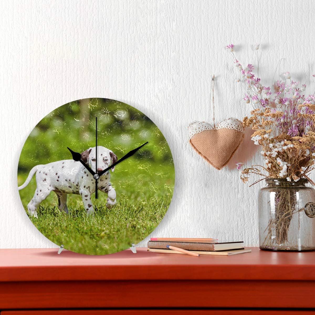 Amazon.com: HangWang Wall Clock Small Cute Dalmatian Dog Silent Non Ticking Decorative Round Digital Clocks for Home/Office/School Clock: Home & Kitchen