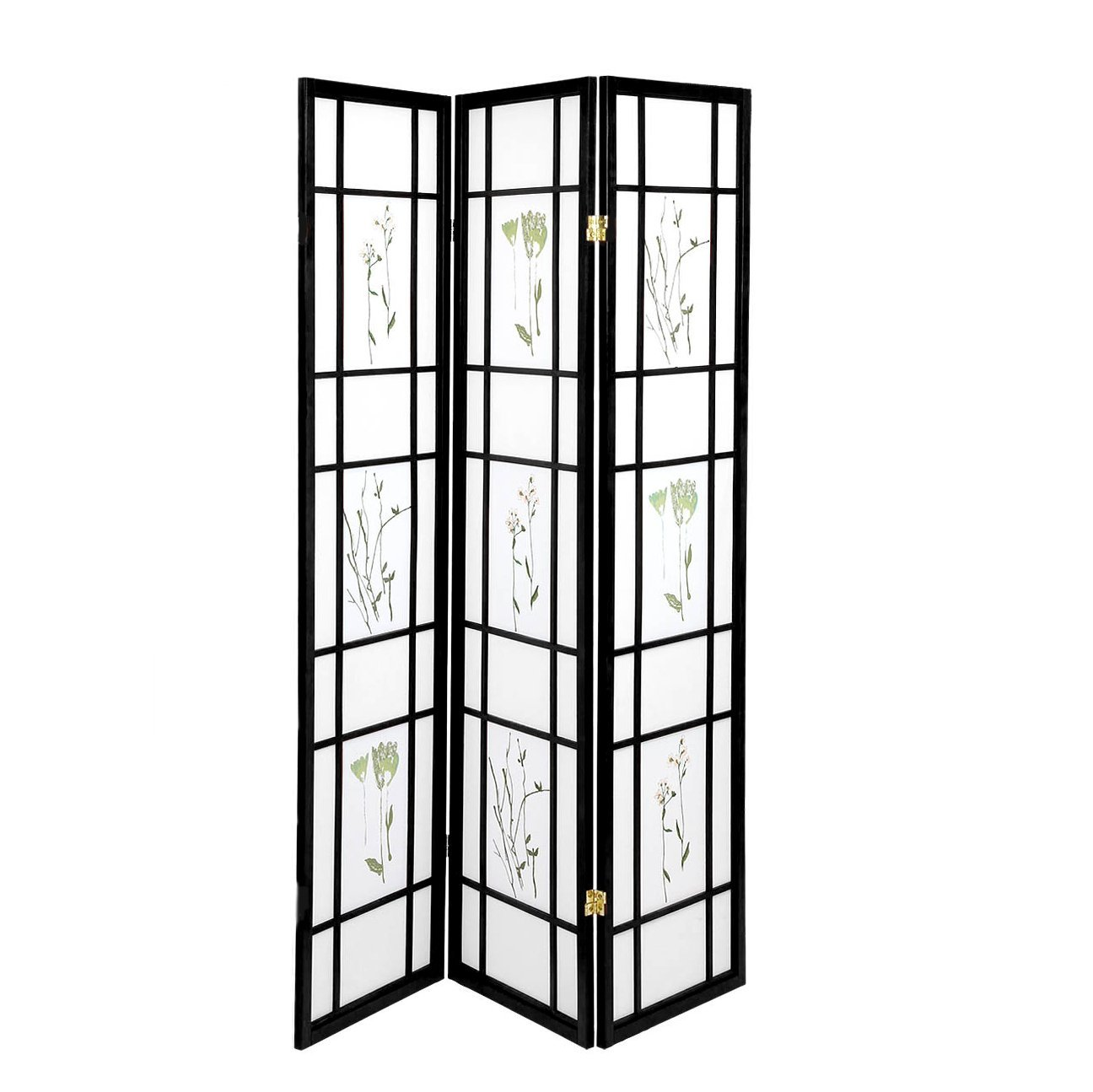 High Quality Oriental Room Divider Hardwood Shoji Screen (Floral Print-Black, 3-Panel)