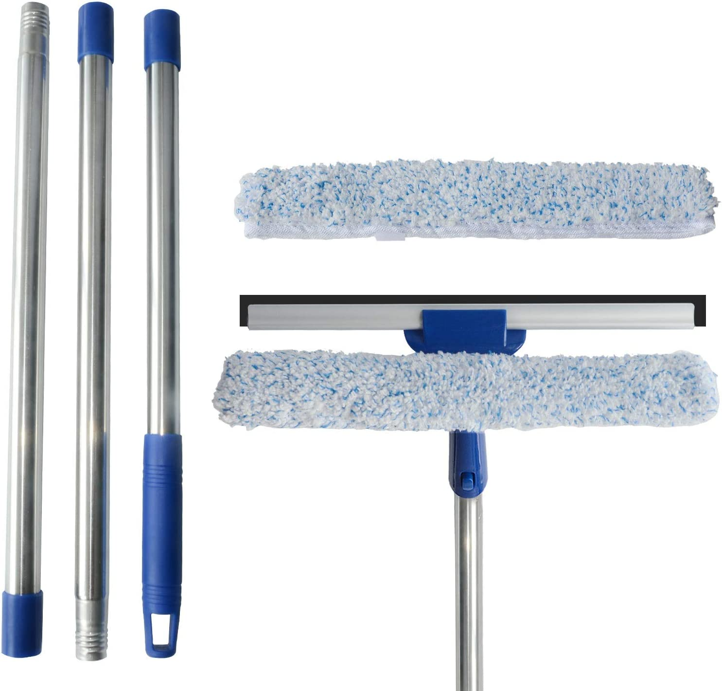 ITTAR Window Squeegee Cleaning Tools, 2 in 1 Window Washing Squeegee with Extension Pole 58'' Long Handle for Window Shower Glass Door Household Tool