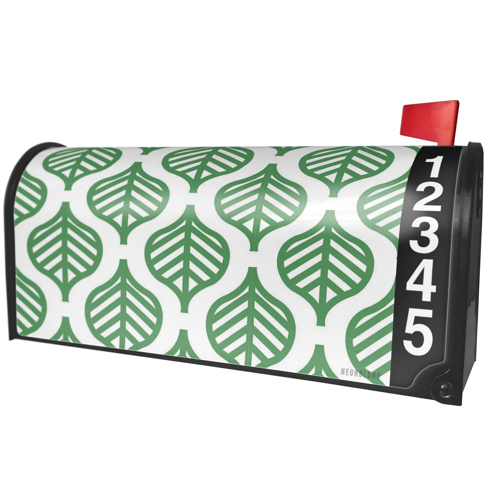 NEONBLOND Pattern Green Leaves Large Magnetic Mailbox Cover Custom Numbers