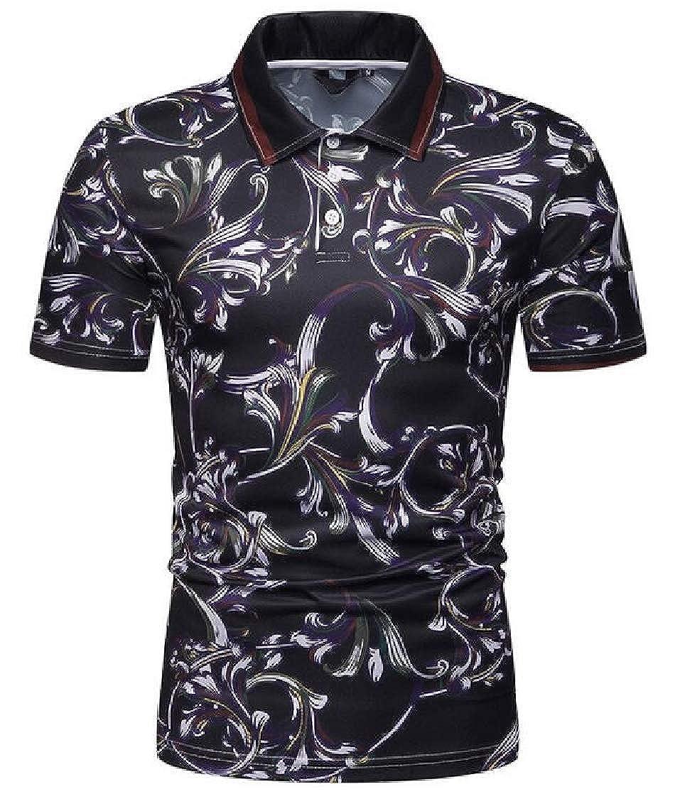 YUELANDE Men Short Sleeve Casual Fitted T-Shirt Fashion Print Polo Shirt