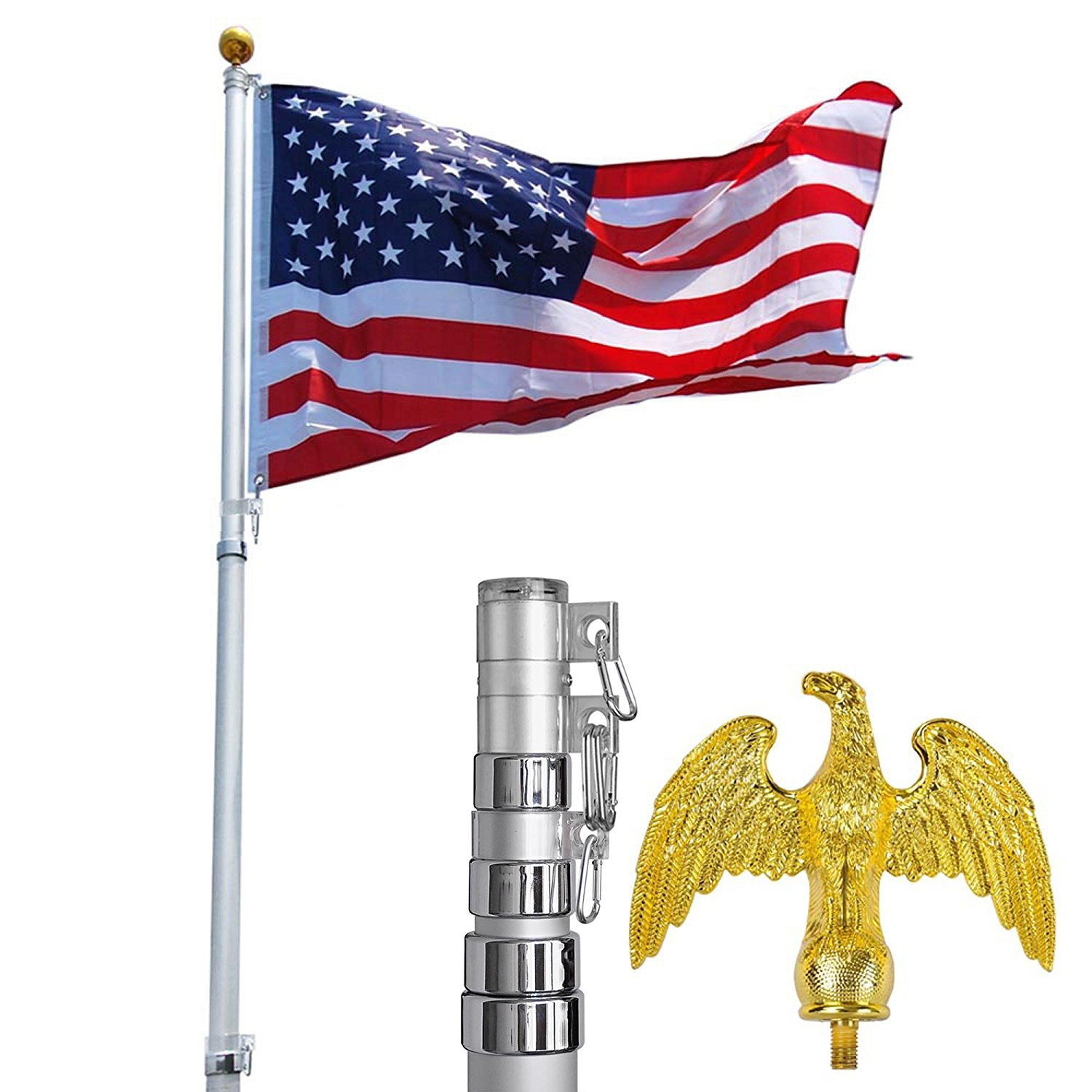 5-section 20ft Telescopic Aluminum Flag Pole + Golden Eagle Top Kit w/ Free Us Flag & Gold Ball Top Telescoping Flagpole