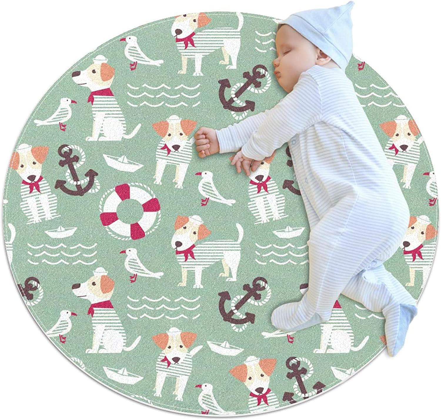 Area Rugs for Bedroom, Ultra-Luxurious Soft and Thick Non-Slip Carpet for Kids Baby Room, Nursery Modern Decor Rug 2.3Ft, Sailor Dog Lifebuoy Animal
