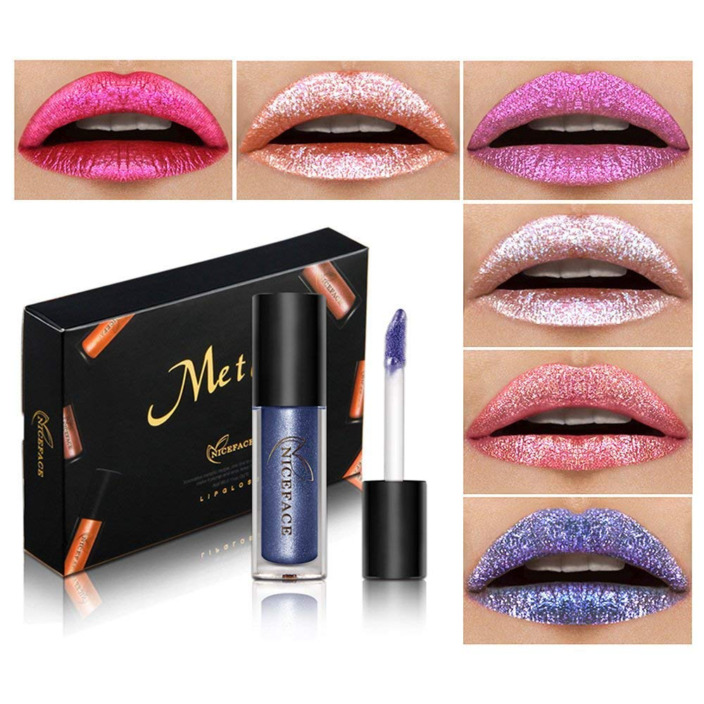 Rechoo Metallic Matte Glitter Liquid Lipstick Long Lasting Waterproof Moisturizing Lip Gloss 7 Pcs Set NICEFACE 3103-54-7PCS