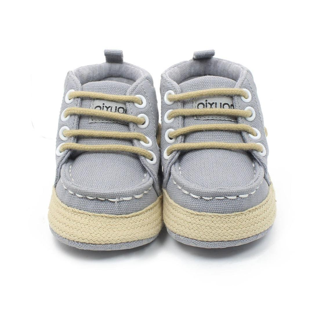 BUYEONLINE Baby Boys Girls Lace Up High Top Crib Shoes Casual Soft Sole Sneakers
