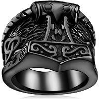 FaithHeart Norse Viking Jewelry Mens Stainless Steel Vikings Thor's Hammer/Wolf Head Ring Valknut Warrior's Gothic…
