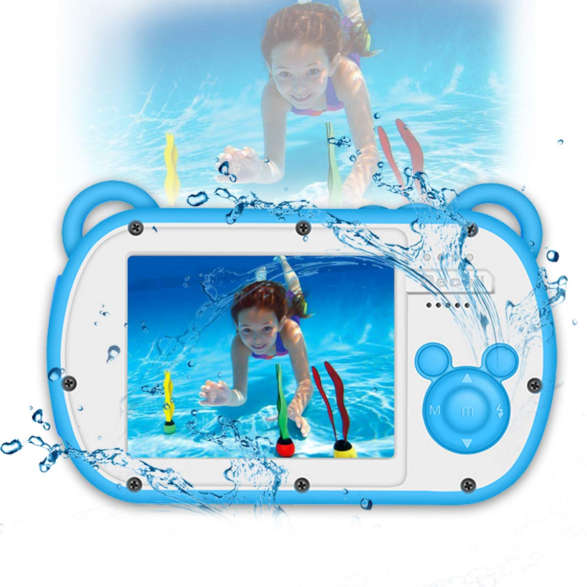 Kids Camera Waterproof Underwater Video Cameras for Snorkeling,Waterproof Underwater Digital Cameras for Kids--Holiday,Trip,Camping by Suntak (Image #1)
