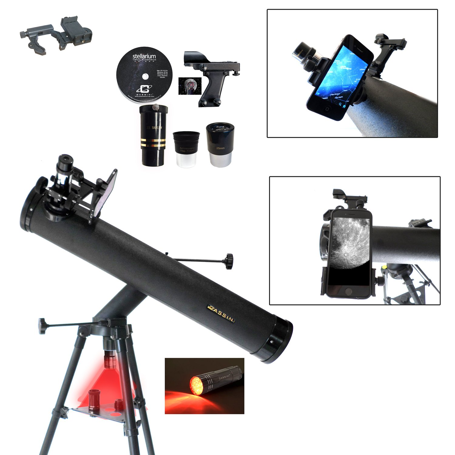 Cassini C-SS80 800mm x 80mm Astronomical Reflector Telescope and Smartphone Photo Adapter by Cassini