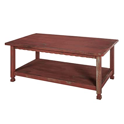 Alaterre ACCA11RA Rustic Cottage 42u0026quot; L Coffee Table Finish, Red Antique