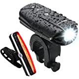 USB Rechargeable Bike Light Set, NearMoon Quick Release Bicycle Lights with Headlight Taillight, Super Bright Front Lamp and Red Rear Light with Emergency Flashlight, Waterproof, Bike Helmet Mount