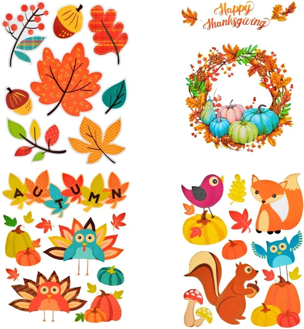 Nantucket Fall Decor Thanksgiving Pumpkin Leaves Wreath Harvest Glittery Window Static Cling Decor Reusable Decorations Large Set of 4 Sheets (Turquoise Orange Fall Decor Window Cling)