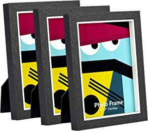 Home&Me 5x7 Picture Frame Wood for Table-Top Display and Wall Mounting Photo Frame 3 Pack Black