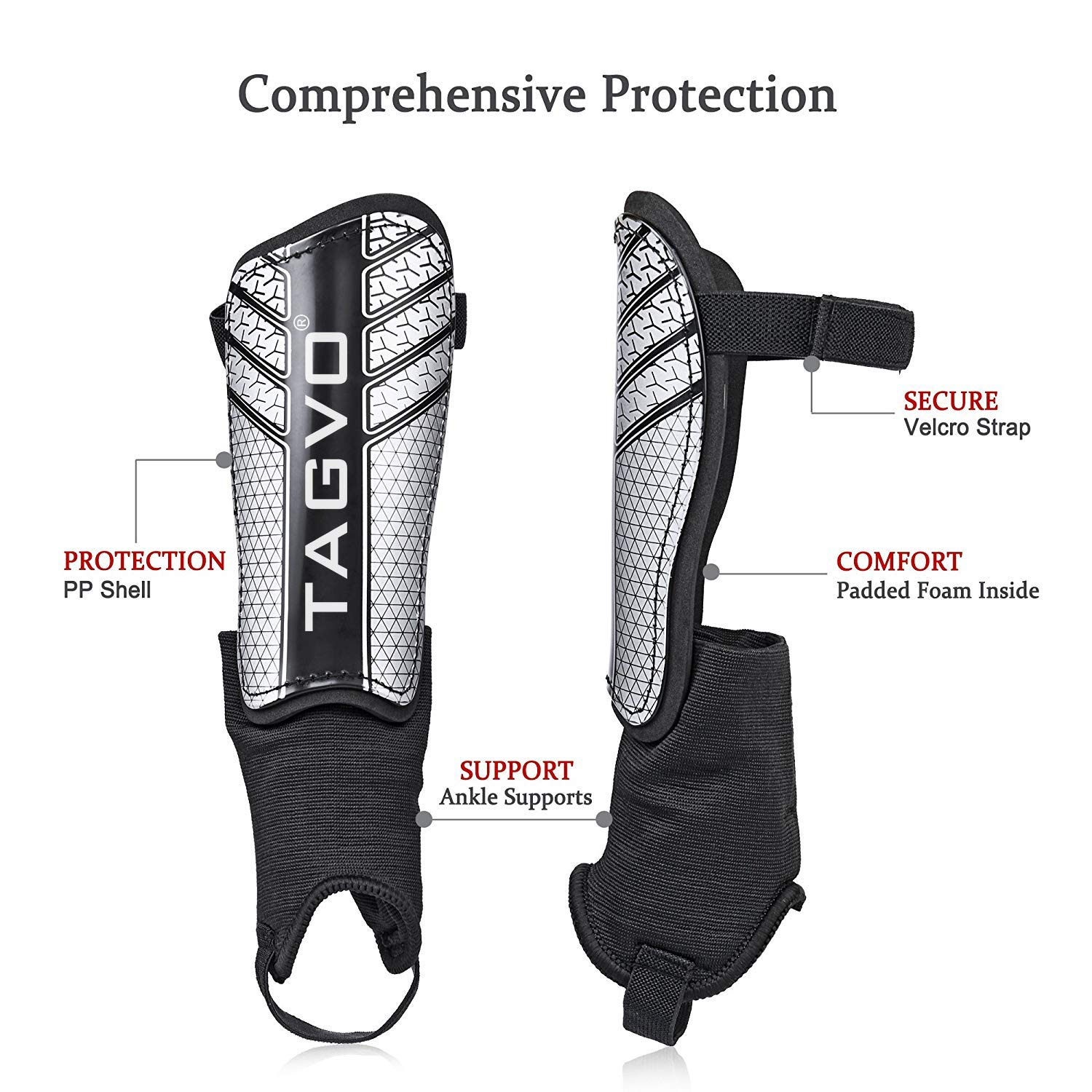 TAGVO Soccer Shin Guards Youth Sizes Child Soccer Shin Pads for Boys Girls Kids Soccer Equipment with Ankle Sleeves Protection