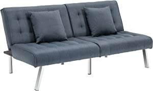 HOMCOM 2-Seater Convertible Sofa Bed with 7 Adjustable Angled Backrest Levels, 2 Pillows, and 5 Steel Legs, Grey