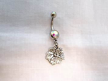 New Dragonfly Insect Resting ON Lilypad ON 14g Borealis Rainbow Belly Ring KEZ-3677