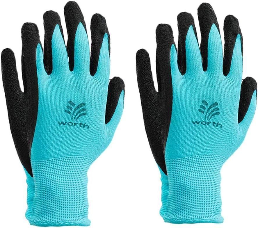 Worth Garden Tools Gloves Women's Comfort Coated Gardening Work Gloves - 2 Pairs - Blue