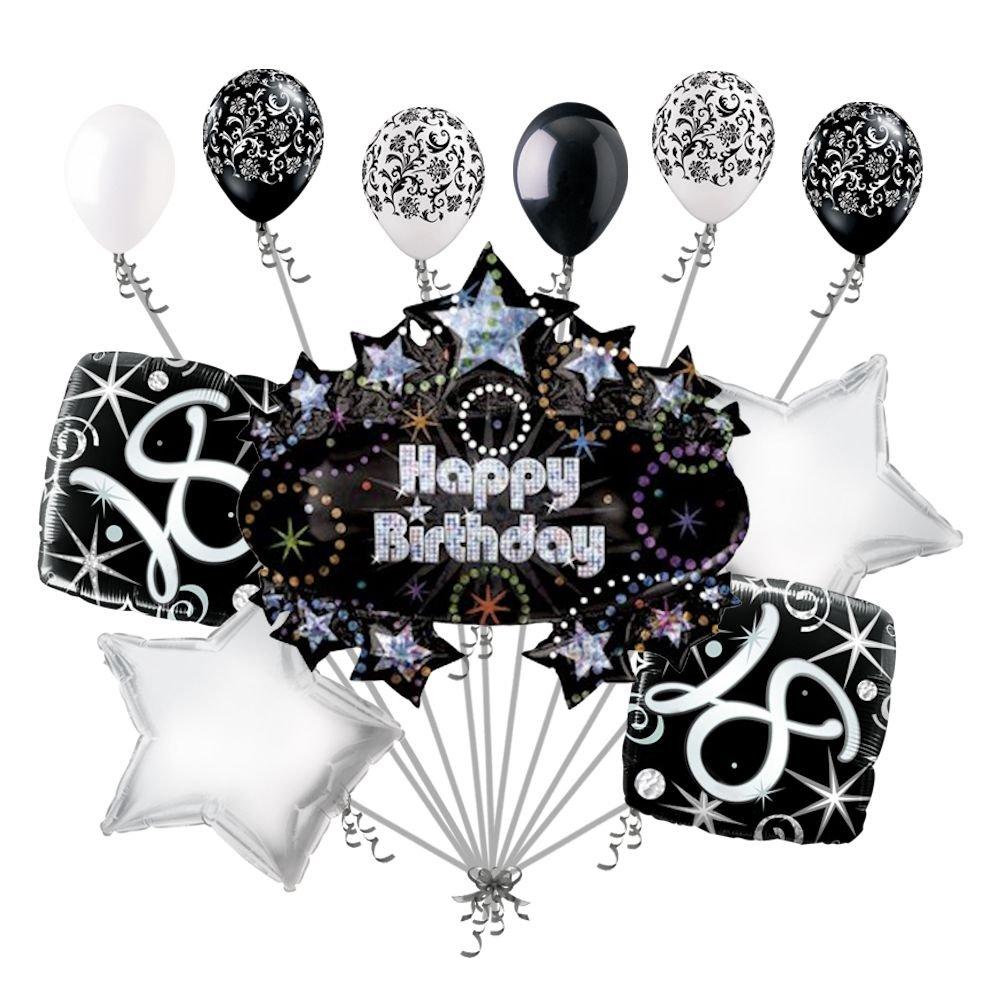 Amazon 11 Pc 18th Happy Birthday Balloon Decoration Party Elegant Adult Black White Toys Games