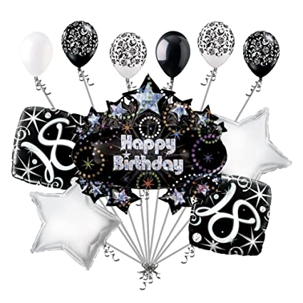 11 Pc 18th Happy Birthday Balloon Decoration Party Elegant Adult Black White