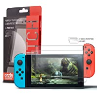 Orzly Glass Screen Protectors compatible with Nintendo Switch - Premium Tempered Glass Screen Protector TWIN PACK [2x Screen Guards - 0.24mm] for 6.2 Inch Tablet Screen on Nintendo Switch Console